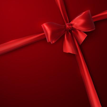 赤い弓とリボン。ベクトル休日イラスト。デザインの装飾要素