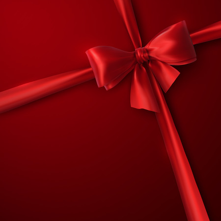 gift ribbon: Red Bow And Ribbon. Vector Holiday Illustration. Decoration Element For Design