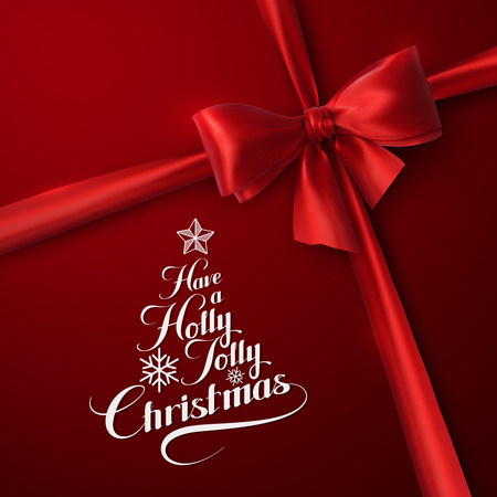 ruban blanc: Holly Jolly Merry Christmas. Vector Holiday Illustration. Lettering Label Have A Holly Jolly Christmas On Red  Background With White Ribbon Illustration