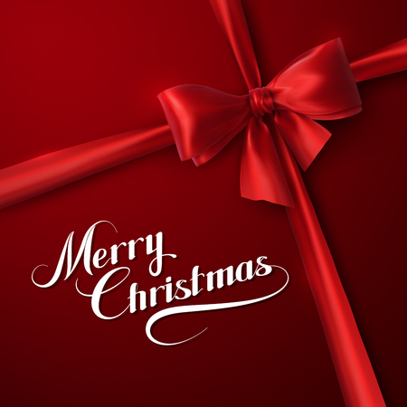 Merry Christmas. Holiday Vector Illustration. Lettering Composition On The Red Background With Ribbon And Red Bow