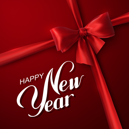 date night: Happy New Year. Holiday Vector Illustration. Lettering Composition On The Red Background With Red Bow And Ribbon Illustration