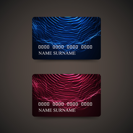 Credit Cards With Abstract Digital Wave Of Particles. Vector Illustration. Gift Or Credit Card Design Template