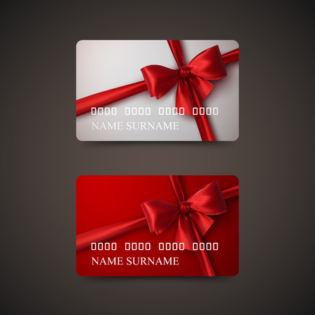 Gift Cards With Red Bow And Ribbon. Vector Illustration. Gift Or Credit Card Design Template Vettoriali