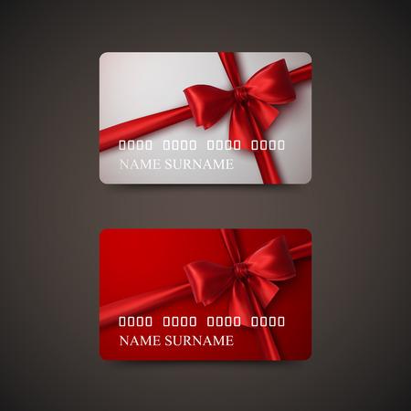 Geschenkkarten mit roten Schleife und Band. Vektor-Illustration. Geschenk oder Kreditkarte Design-Vorlage Standard-Bild - 48391562