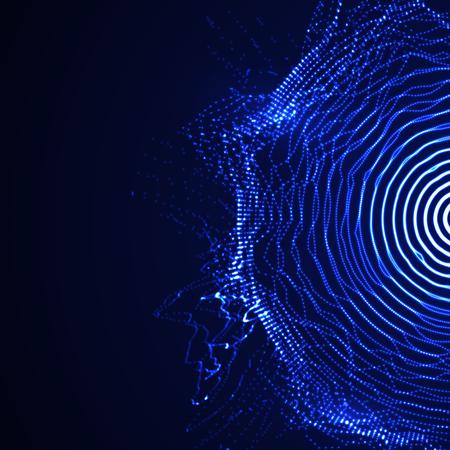 Abstract vector illuminated shape of particles array. Futuristic vector illustration. HUD element. Technology digital splash or explosion concept Illustration