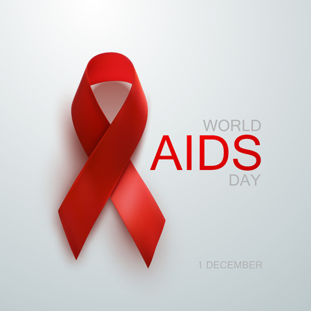 Aids Awareness Red Ribbon. World Aids Day concept. Vector Illustration Çizim