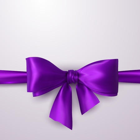 Purple Bow And Ribbon. Vector Holiday Illustration. Decoration Element For Design Çizim