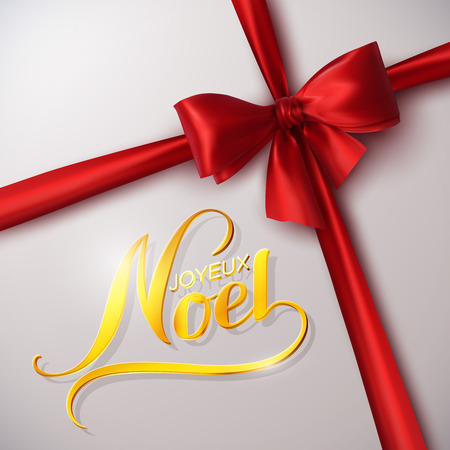 Merry Christmas. Joyeux Noel. Holiday Vector Illustration. Lettering Golden Composition With Ribbon And Red Bow Çizim
