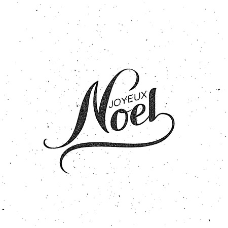 joyeux: Merry Christmas. Joyeux Noel. Vector Holiday Illustration. Lettering Label Illustration