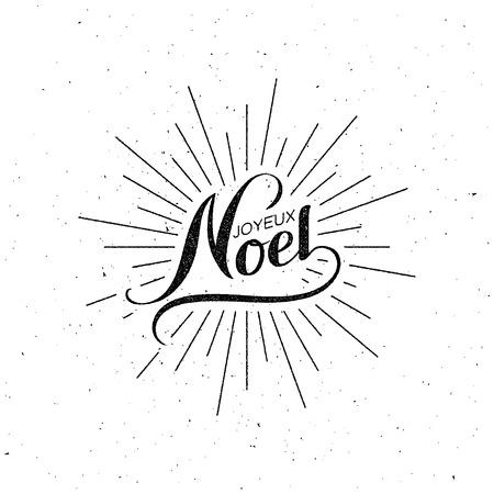Merry Christmas. Joyeux Noel. Vector Holiday Illustration. Lettering Label Illustration