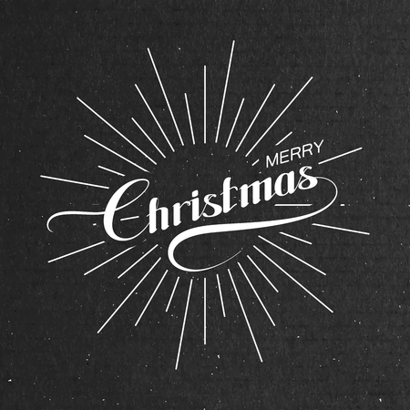 light rays: Merry Christmas. Holiday Vector Illustration. Lettering Composition With Light Rays