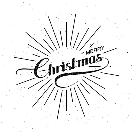 the light rays: Merry Christmas. Holiday Vector Illustration. Lettering Composition With Light Rays