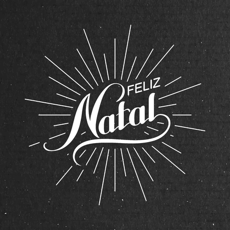 joyeux noel: Feliz Natal. Joyeux No�l. Holiday Vector Illustration. Lettrage Composition Avec Rayons de lumi�re