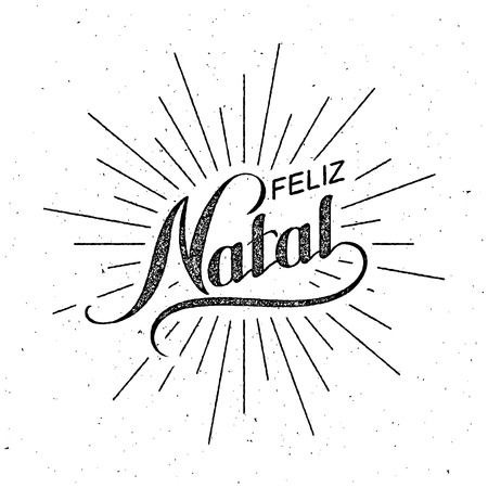 natal: Feliz Natal. Merry Christmas. Holiday Vector Illustration. Lettering Composition With Light Rays Illustration
