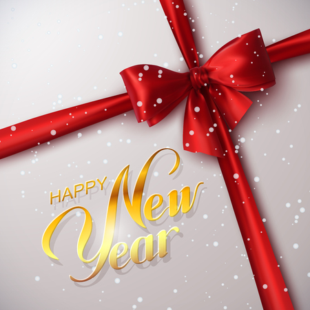 red bow: Happy New Year. Holiday Vector Illustration. Lettering Golden Composition With Ribbon And Red Bow Illustration