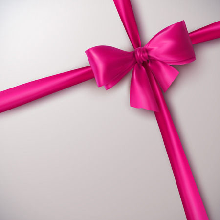 Pink Bow And Ribbon. Vector Holiday Illustration. Decoration Element For Design 일러스트