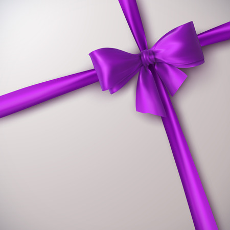 Purple Bow And Ribbon. Vector Holiday Illustration. Decoration Element For Design Vettoriali
