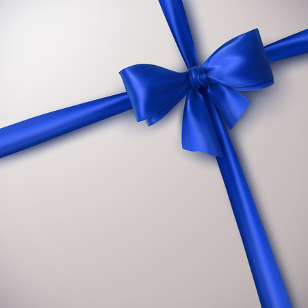 blue bow: Blue Bow And Ribbon. Vector Holiday Illustration. Decoration Element For Design Illustration