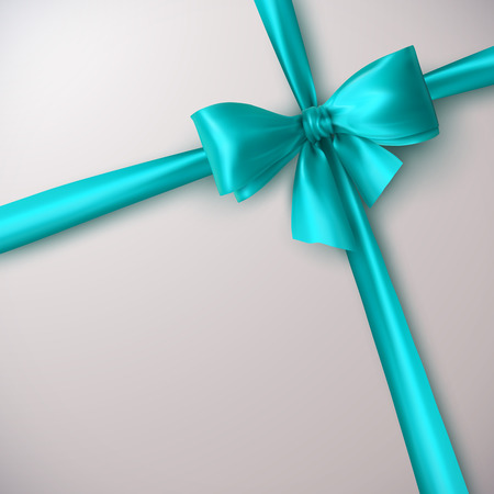 gift ribbon: Azure Bow And Ribbon. Vector Holiday Illustration. Decoration Element For Design