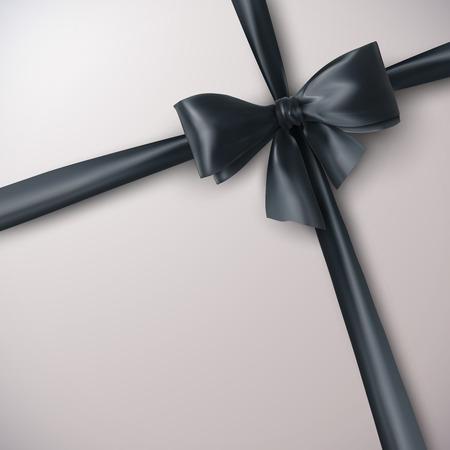 ruban noir: Arc noir et le ruban. Illustration Vecteur de vacances. Elément de décoration pour la conception Illustration