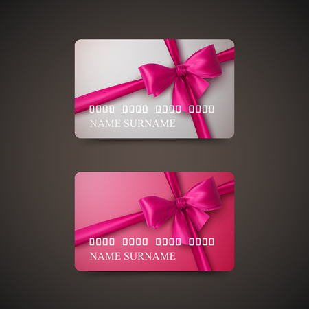 Gift Cards With Pink Bow And Ribbon. Vector Illustration. Gift Or Credit Card Design Template Vettoriali