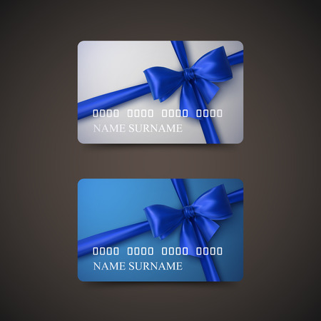 card holder: Gift Cards With Blue Bow And Ribbon. Vector Illustration. Gift Or Credit Card Design Template