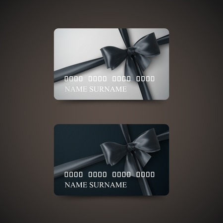 prepaid: Gift Cards With Black Bow And Ribbon. Vector Illustration. Gift Or Credit Card Design Template Illustration