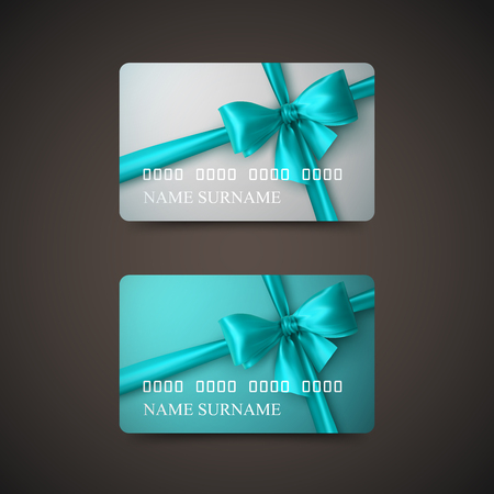 prepaid card: Gift Cards With Azure Bow And Ribbon. Vector Illustration. Gift Or Credit Card Design Template