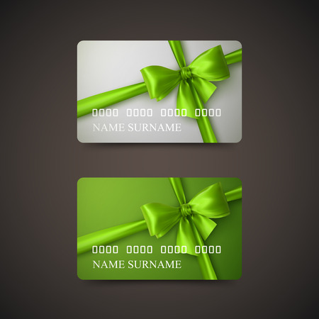 Gift Cards With Green Bow And Ribbon. Vector Illustration. Gift Or Credit Card Design Template