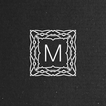 artdeco: vector floral monogram. art-deco frame. line art element for design