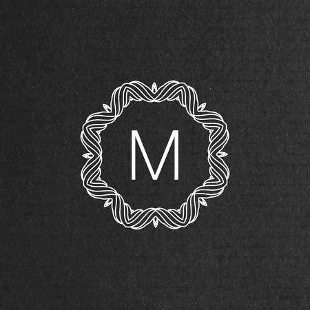 floral border: vector floral monogram. art-deco frame. line art element for design
