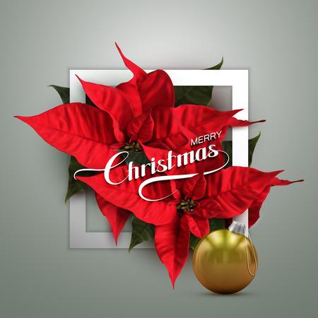flor de pascua: Feliz Navidad. Ilustración vectorial de vacaciones con letras a la etiqueta, bola de Navidad y Poinsettia Flores