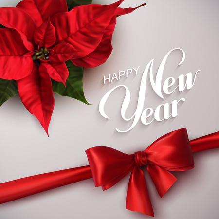 flor de pascua: Feliz año nuevo. Ilustración vectorial de vacaciones con letras a la etiqueta, lazo rojo y flores del Poinsettia