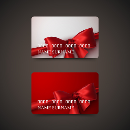 prepaid card: Gift Cards With Red Bow And Ribbon. Vector Illustration. Gift Or Credit Card Design Template Illustration