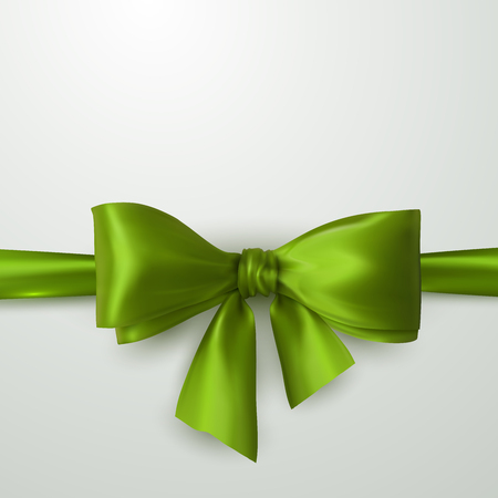 green bow: Green Bow And Ribbon. Vector Holiday Illustration. Decoration Element For Design Illustration