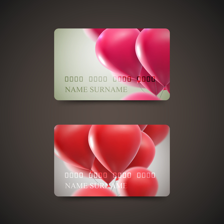 Gift Cards With Flying Balloons. Vector Illustration. Gift Or Credit Card Design Template