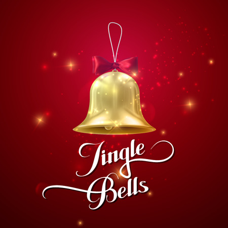 jingle bells: Golden Christmas Bell. Vector Holiday Illustration Of Golden Bell With Red Bow And Handwritten Label Jingle Bells Illustration