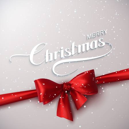 Merry Christmas. Holiday Vector Illustration. Lettering With Snow, Ribbon And Red Bow
