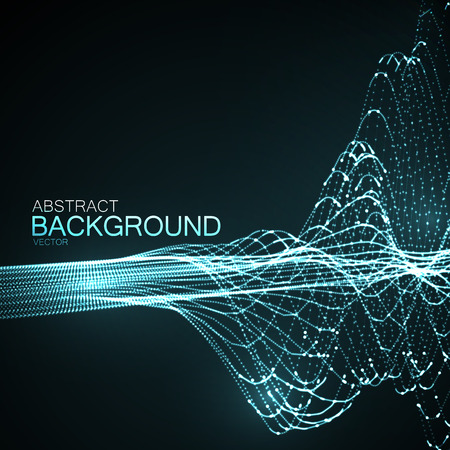 3D illuminated abstract digital wave of glowing particles and wireframe. Futuristic vector illustration. HUD element. Technology concept. Abstract background Illustration