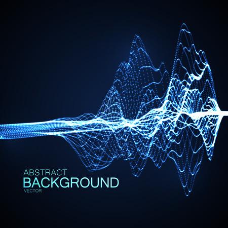 3 D には、光る粒子とワイヤ フレームの抽象的なデジタル波が照らされています。未来的なベクター イラストです。HUD 要素。技術コンセプト。抽象