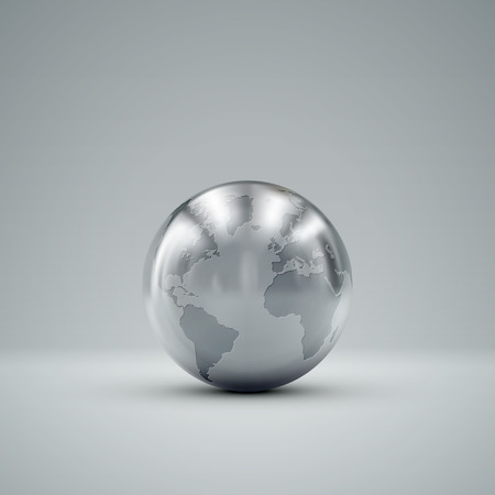 earth core: 3D metallic sphere with reflections. Vector realistic illustration with silver globe