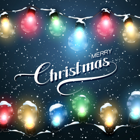 Merry Christmas. Christmas Lights With Snow. Vector Holiday Illustration of Luminous Electric  Garland 일러스트