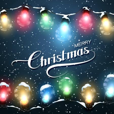 Fröhliche Weihnachten. Weihnachtsbeleuchtung mit Schnee. Vector Urlaub Illustration Luminous Elektro Garland Standard-Bild - 48856542