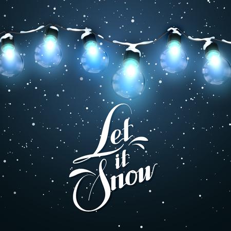 neige noel: Qu'il neige. Lumières de Noël. Vecteur de vacances Illustration électrique Luminous Garland