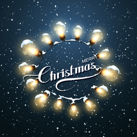 happy new year banner: Merry Christmas. Christmas Light Wreath. Vector Holiday Illustration of Luminous Electric Wreath