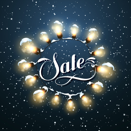 Sale Promotional Label. Glowing Lights. Vector Holiday Illustration of Luminous Electric  Wreath.