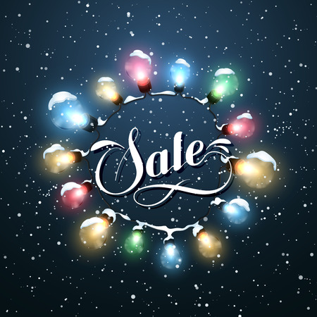 advertisements: Sale Promotional Label. Glowing Lights. Vector Holiday Illustration of Luminous Electric  Wreath.