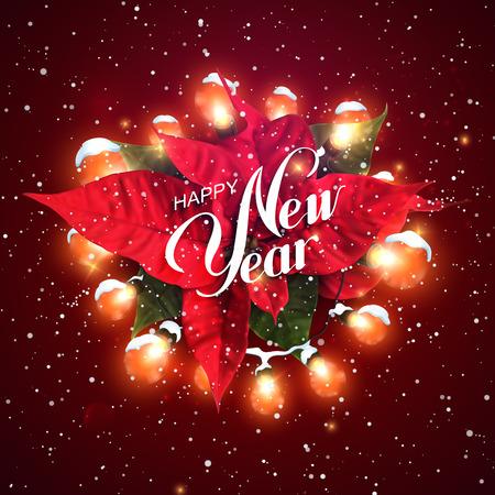 flor de pascua: Feliz Navidad. Corona de Navidad con nieve y luz Poinsettia Flores. Ilustración vectorial de vacaciones de Luminous eléctrica Garland Vectores