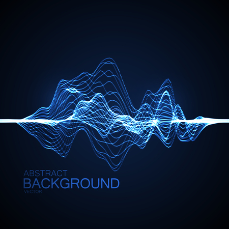 wave sound: 3D illuminated abstract digital wave of glowing particles and wireframe. Futuristic vector illustration. HUD element. Technology concept. Abstract background Illustration