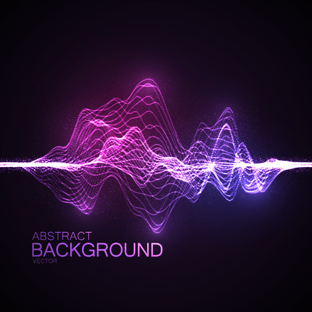3D illuminated abstract digital wave of glowing particles and wireframe. Futuristic vector illustration. HUD element. Technology concept. Abstract background Vettoriali